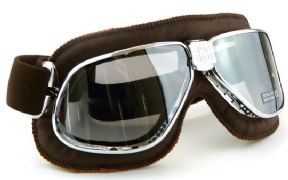 Biker Goggles Chrome + Brown Leather